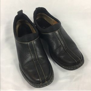 Born Black Leather Slide On Clogs